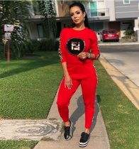 Red Casual Tracksuit Two Piece Set TR-888