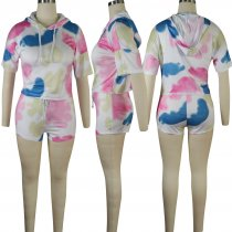Tie Dye Print Hooded Short Sleeve Two Piece Set TE-3780