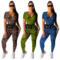 Leopard Print Short Sleeve Two Piece Pants Set YS-8380