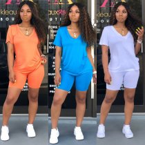 Solid V Neck T Shirt And Shorts Casual Two Piece Set SHA-6073