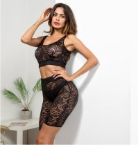 Black Lace Hollow Out Two Piece Set SDE-3891