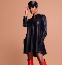 Black PU Leather Loose Mini Dress HMS-5182