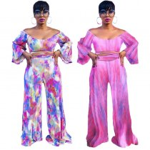 Tie Dye Print Cold Shouder Crop Top And Pants Suits CYA-8160