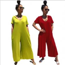 Solid Hooded Short Sleeve Loose Jumpsuits FNN-8221