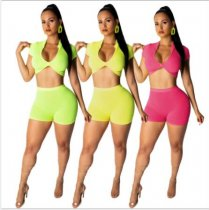 Solid Crop Tops And Bodycon Shorts Two Piece Set ML-7202