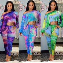 Tie Dye Print Long Sleeve Two Piece Outfits NY-8833