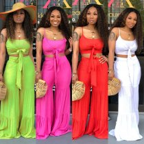 Sexy Tie Up Spaghetti Straps Crop Top Wide Leg Pants Sets CM-571