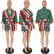 Colorful Printed Tie Up Tops And Shorts 2 Piece Sets NM-8035