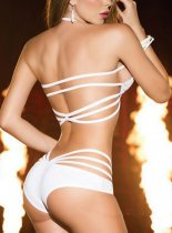 White Halter Three-point Hollow Out Lingerie FQQ-0868