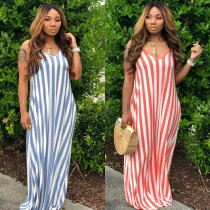 Sexy Striped Sleeveless Loose Long Maxi Dresses MIL-038