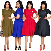 Short Sleeve Peter Pan Collar Midi Pleated Dress WY-6540