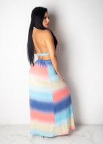 Gradient Sexy Crop Tops And Slit Maxi Skirt Sets SHD-9133