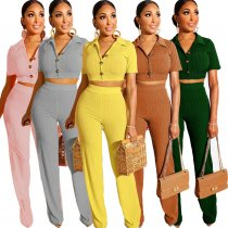 Solid Knitting Short Sleeve Crop Top Pants 2 Piece Sets LS-0277