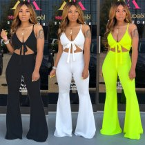 Solid Spaghetti Strap V Neck Bow Tie Sexy Jumpsuits CHY-1175