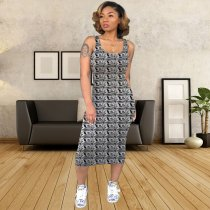 Dollars Pattern Slim Fit Midi Tank Dresses YSF-274