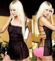Open Back Strappy Black Transparent Mesh Babydoll FQQ-0755