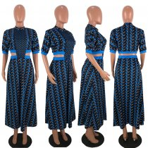 Printed Cut Out Waist Big Swing Maxi Dresses LDS-3097
