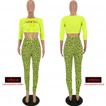 Leopard Print Long Sleeve Bodycon Two Piece Pants Set YH-5072