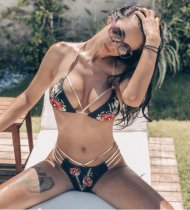 Sexy Flowers Print Swimsuit Bikinis Set RT-T01