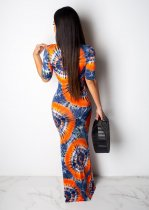 Printed Deep V Neck Short Sleeve Slim Fit Maxi Dress TR-937