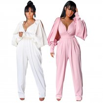 Sexy V Neck Split Lantern  Sleeve Backless Jumpsuits BS-1109