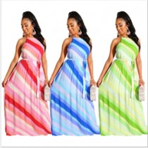 Sexy Striped Sleeveless Sashes Long Maxi Dresses MA-218