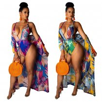 Sexy Printed 2pcs Swimsuit Long Cloak+Bech Bodysuit NK-8356