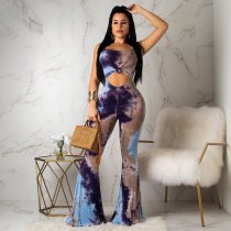 Sexy Printed Spaghetti Strap Backless Bell-bottomed Jumpsuit OYF-8052