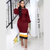 Elegant Lantern Sleeve Bodycon Midi Dress OM-1014-1