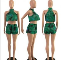 Leaves Print Sleeveless Sexy Two Piece Shorts Set FST-3003
