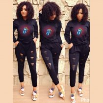 Casual Tracksuit Hooded Hollow Out 2 Piece Set YIM-8051