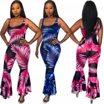 Sexy Printed Mesh Sleeveless Flares One Piece Jumpsuits HMS-5251