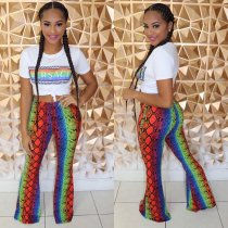 Colorful Snake Skin Print Short Sleeve Two Piece Pants Set MYP-8883