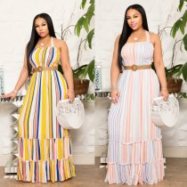Colorful Stripes Halter Cut Out Waist Backless Maxi Dress MOS-936
