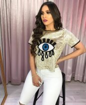 Sequined Eyes Short Sleeve Fahion T Shirt BS-1019