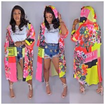 Casual Printed Hooded Long Cloak Cardigan Coat CY-1865