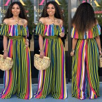 Colored Striped Slash Neck Loose Jumpsuits NK-8393
