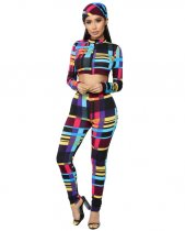 Multicolor Print Zipper Crop Tops Pants Set With Scarf LSL-6185