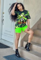 Plus Size Printed T Shirt And Shorts Two Piece Suits SC-622