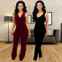 Solid Deep V Neck Sleeveless Slim Fit Jumpsuits YSF-277