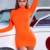 Sexy Turtleneck Hollow Long Sleeve Mini Bodycon Dress FL-93340