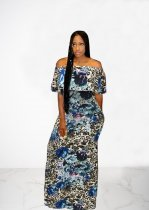 Printed Sexy Slash Neck Ruffles Long Maxi Dresses OMY-5127
