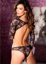 Backless Black Lace Perspective Teddy Lingerie YQ-161