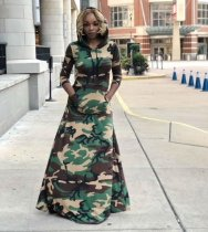 Camouflage Print Hooded Full Sleeve Maxi Dress LS-0234