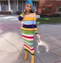 Colorful Striped Knit long Sleeve Maxi Dress ORY-5052