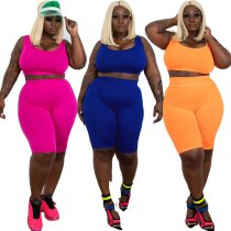 Plus Size Tank Tops And Shorts Casual 2 Piece Set YIF-1031