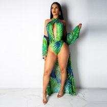 Printed 2 Piece Swimsuit Cover Up+ Bodysuit NY-8729