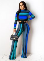 Fashion Stripes Tie Up Long Sleeve Two Piece Suits YIY-5095