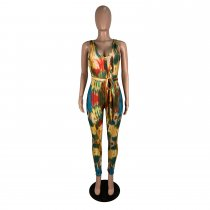 Fashion Printed V Neck Sleeveless Skinny Jumpsuits CHY-1187