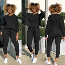 Women Solid Color Casual Pants Set Two Pieces YN-9018